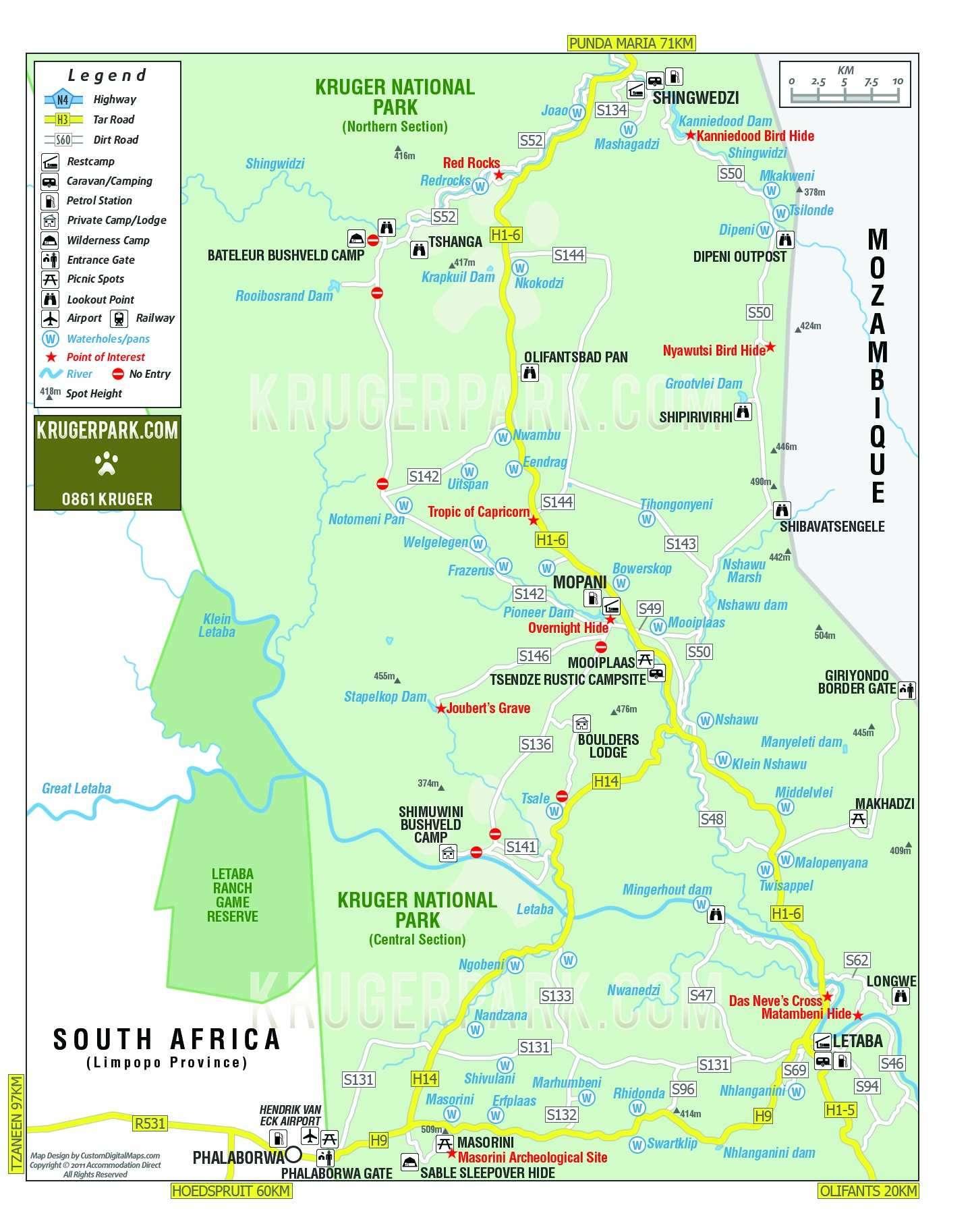 Carte Parc Kruger Afrique Du Sud.Parc National Kruger Afrique Du Sud Afrique Tourisme