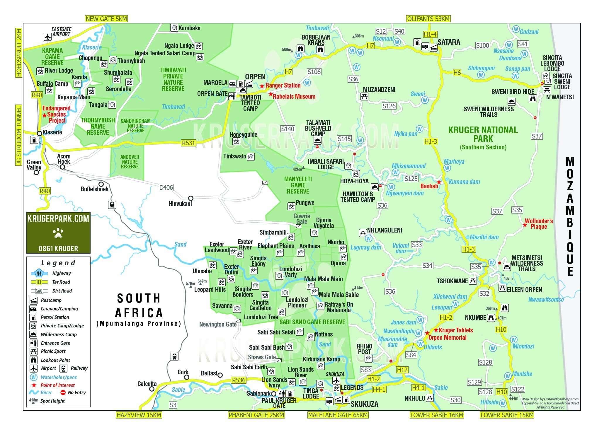 Carte Afrique Du Sud Parc Kruger.Parc National Kruger Afrique Du Sud Afrique Tourisme