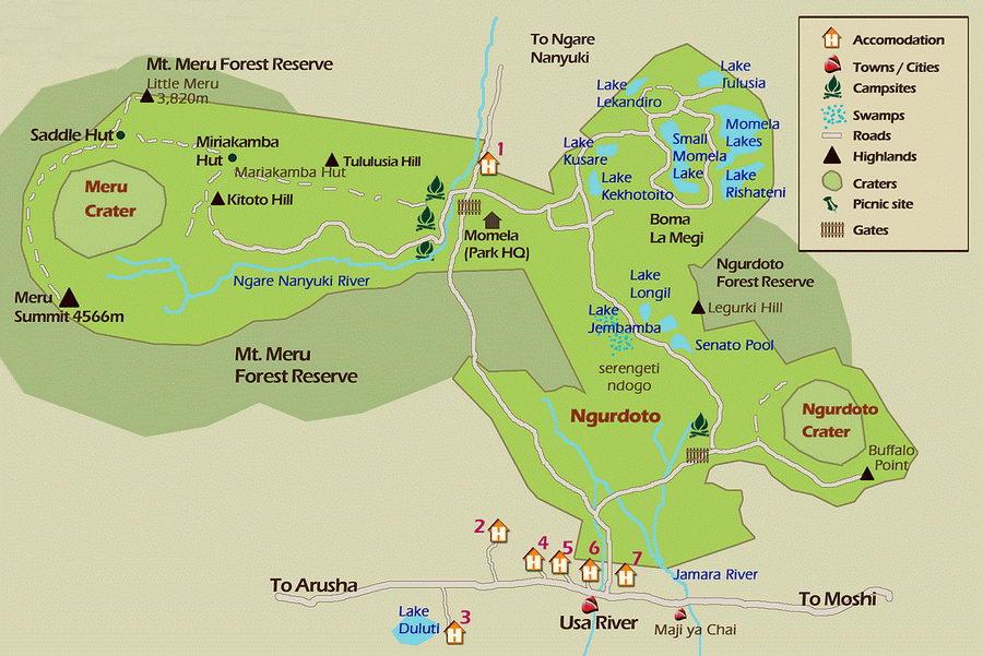 Plan du parc national d'Arusha, Tanzanie