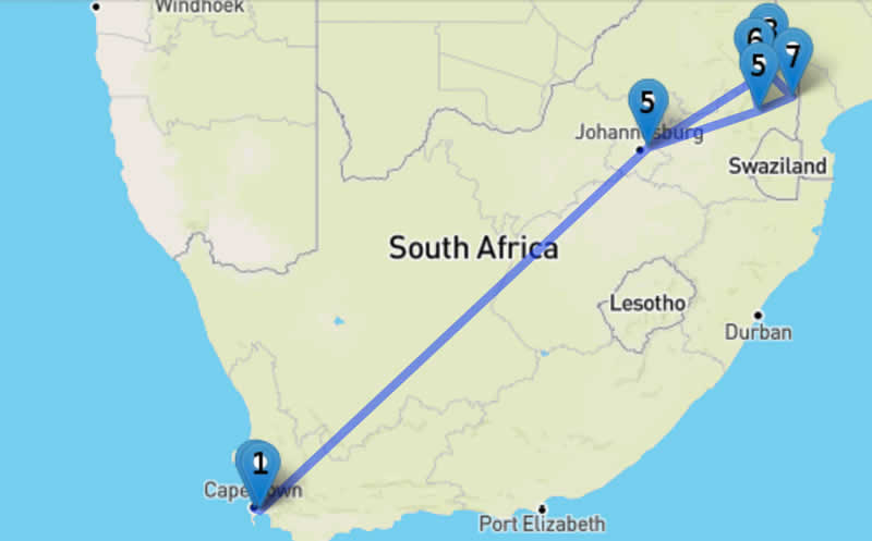 Circuit auto-tour en Afrique du Sud