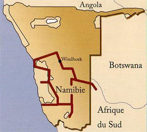 "Carte du circuit en Namibie ""Oryx"""