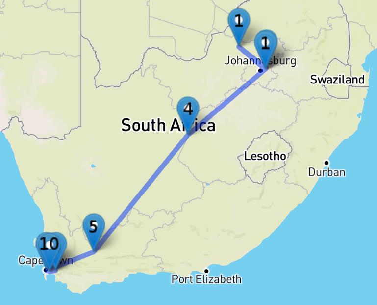 Plan du Circuit : le Meilleur de l'Afrique du Sud