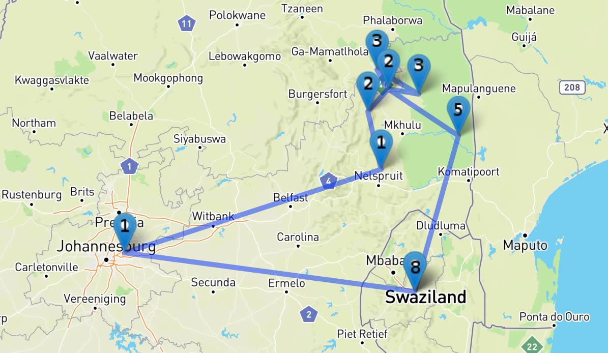 Plan du safari en famille en Afrique du Sud