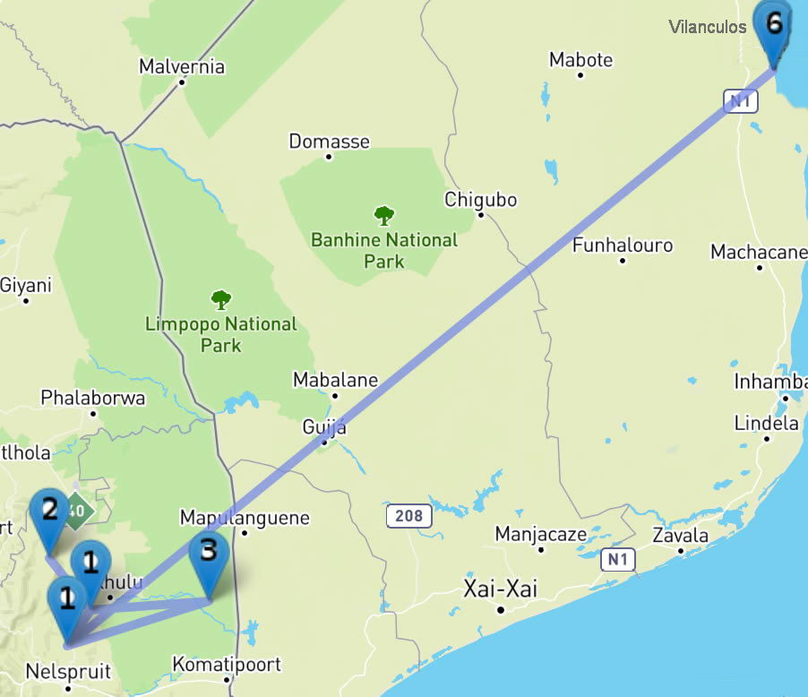 Plan du circuit : Safari en Afrique du Sud et Plage au Mozambique